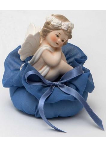 Angioletto seduto + sacchetto azzurro A7301-A16 Cupido Ad Emozioni