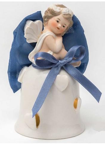 Angioletto su campana con led in porcellana + sacchetto azzurro A7302-A16 Cupido Ad Emozioni