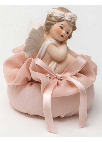 Angioletto seduto su sacchetto rosa A7301/A36 Cupido AD Emozioni