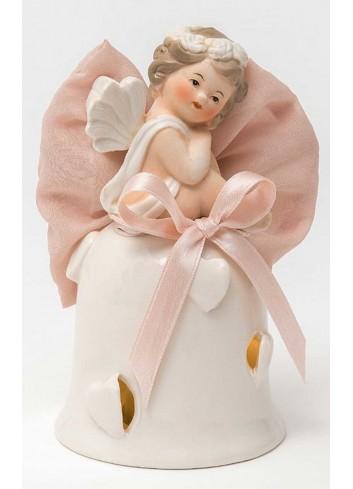 Angioletto su campana con led in porcellana + sacchetto rosa A7302-A36 Cupido Ad Emozioni