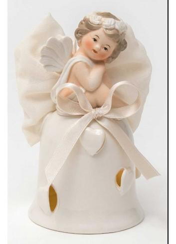 Angioletto su campana con led in porcellana + sacchetto A7302-A31 Cupido Ad Emozioni