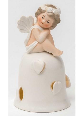 Angioletto su campana con led in porcellana A7302 Cupido AD Emozioni