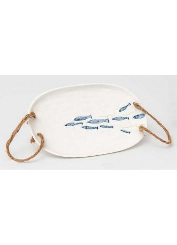 Vassoio in porcellana con manici cordone decoro mare A9204 Alice AD Emozioni