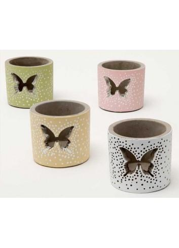 Vasetto piccolo in cemento decoro farfalla 4 colori assortiti A7001/B Giardino notturno AD Emozioni