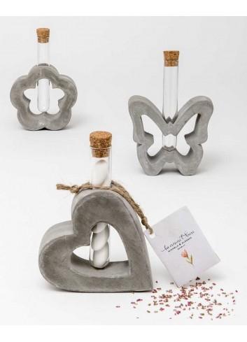 Vasetto in cemento 3 modelli assortiti con ampollina + bustina con semi A7501/A Cresci l'amore AD Emozioni