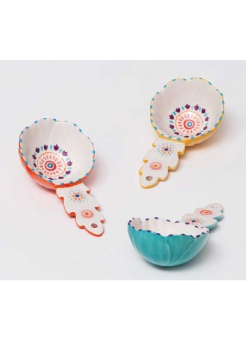 Chiave magnete giallo ocra in ceramica artigianale pugliese