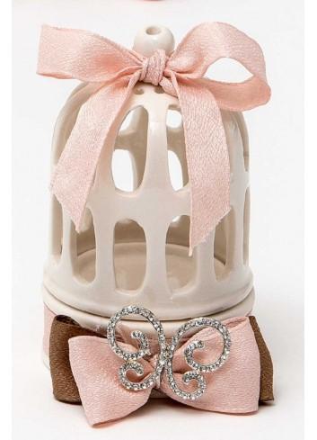Gabbietta in porcellana con fiocco rosa e ciondoli strass (2 assortiti) P6441-42/A6 Shiny Love AD Emozioni