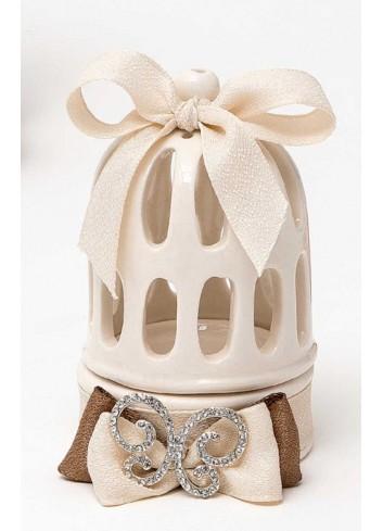 Gabbietta in porcellana con fiocco avorio e ciondoli strass (2 assortiti) P6441-42/A31 Shiny Love AD Emozioni