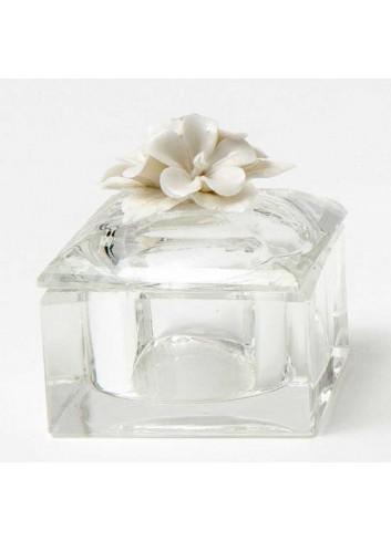 """Scatola """"Fiori"""" in vetro e porcellana A8503 Kristal AD Emozioni"""
