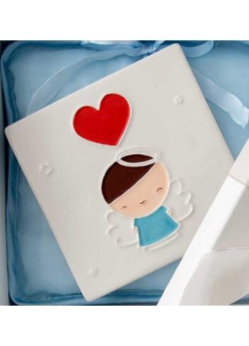Quadretto mattonella Bimbo battesimo in porcellana A7706 Eventi d'amore AD Emozioni