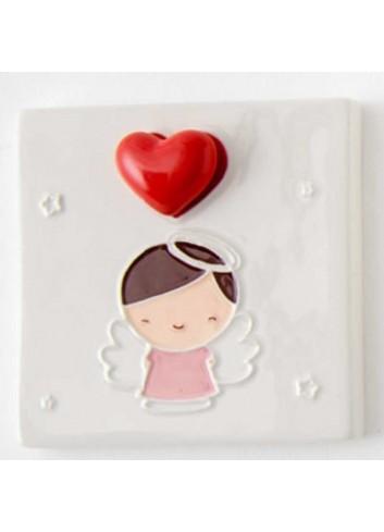 Quadretto mattonella Bimba battesimo in porcellana A7705 Eventi d'amore AD Emozioni