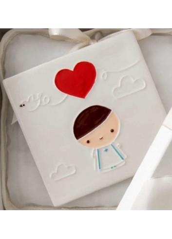 Quadretto mattonella Bimbo comunione in porcellana A7704 Eventi d'amore AD Emozioni
