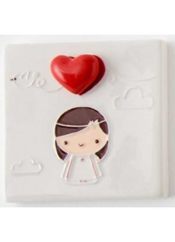 Quadretto mattonella Bimba comunione in porcellana A7703 Eventi d'amore AD Emozioni