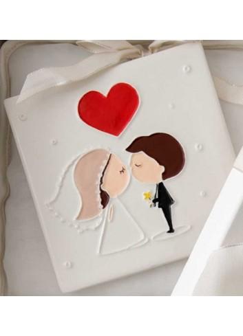 Quadretto mattonella Sposini in porcellana A7702 Eventi d'amore AD Emozioni