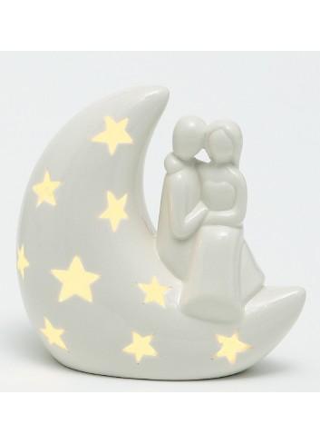 Sposini in porcellana seduti su luna con led A6801-2 Moonlight AD Emozioni