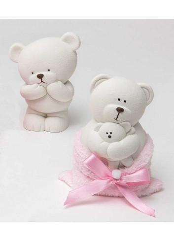 Salvadanaio orsetto bianco in ceramica 2 modelli assortiti con sacchettino rosa 130492/A2 Coccole polari AD Emozioni