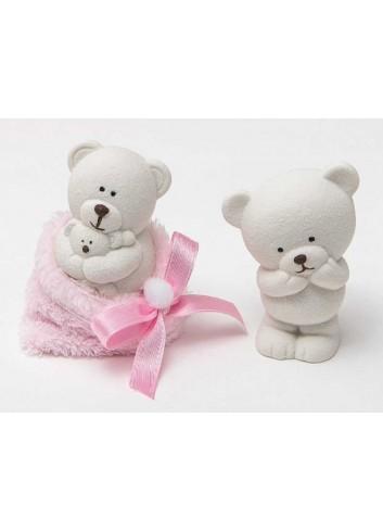 Orsetto piccolo bianco in ceramica 2 modelli assortiti con sacchettino rosa 130491/A2 Coccole polari AD Emozioni