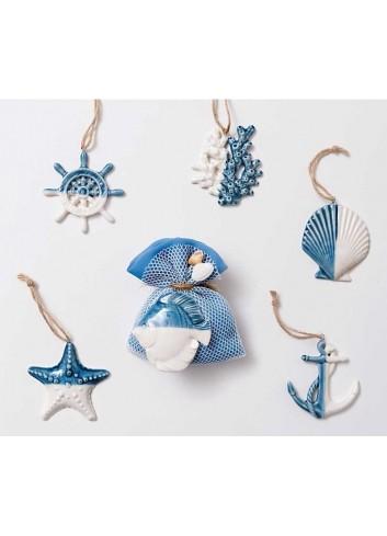 Pendenti mare in ceramica bianco/blu 6 soggetti assortiti Summer A4701/16 AD Emozioni