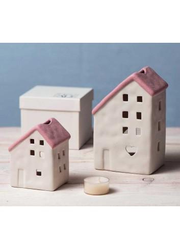 Casetta in porcellana rosa porta tealight A1803-6 Home sweet home Ad Emozioni
