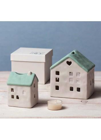 Casetta in porcellana verde porta tealight  A1802-5 Home sweet home Ad Emozioni
