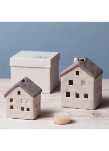 Casetta in porcellana tortora porta tealight A1801-4 Home sweet home Ad Emozioni
