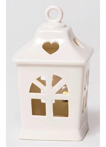 Lanterna con led in porcellana bianca A5905 Romantic AD Emozioni