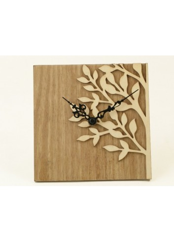 Orologio quadrato da scrivania in legno con Albero della vita 12 x 12 cm D5036 Cuoregaio Cuorematto