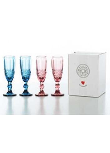 4 bicchieri Flute 2 colori assortiti D5442 Cuorechef Cuorematto