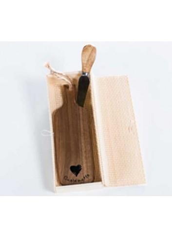 Tagliere monoporzione rettangolare in legno con coltellino D5532 Taglieri legno Cuorematto