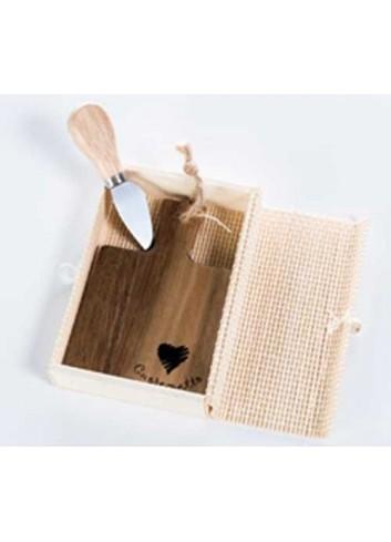 Tagliere monoporzione quadrato in legno con coltellino D5533 Taglieri legno Cuorematto