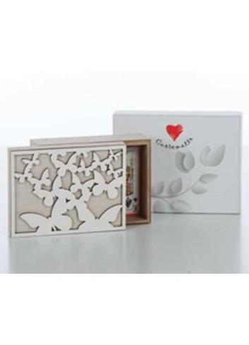Scatola carte con farfalle in legno D5456 Cuoregaio Cuorematto