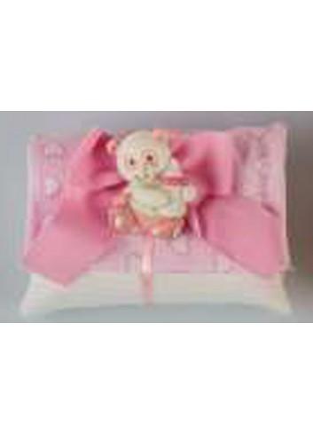 Bustina rosa con cuoricini con applicazione panda rosa D5574 Tutti panda Cuorematto