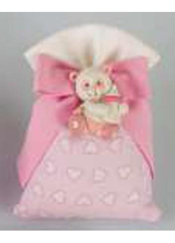 Sacchetto rosa con cuoricini con applicazione panda rosa D5573 Tutti panda Cuorematto